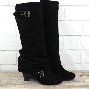 Naughty Monkey 9 black suede slouchy wedge boots